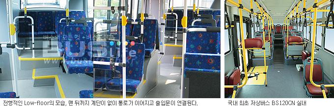 전형적인 Low-floor bus 실내